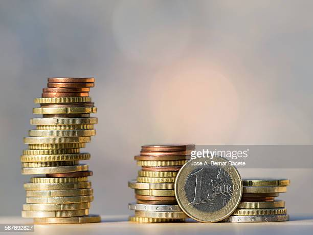 Piles of coins in the euro zone