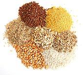 Different kinds of grain, rice, peas, rye, millet, sarrazin, an oats, millet, barley.