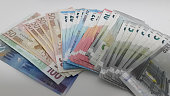 piles of euro banknote prepare for count or use