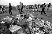 Piles of garbage accumulate at the Woodstock Music Art Fair Bethel NY August 15 1969