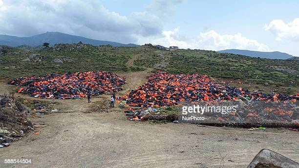 Piles of lifejackets in Lesvos island about 10m high on 11 August 2016 Cheap and crappy lifejackets were sold in Turkey About 500000 lifejackets are...
