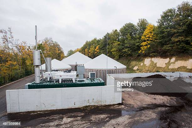 Piles of manure sit beside the methane plant located near Beauval zoo in Beauval France on Friday Oct 23 2015 By capturing the methane gas produced...
