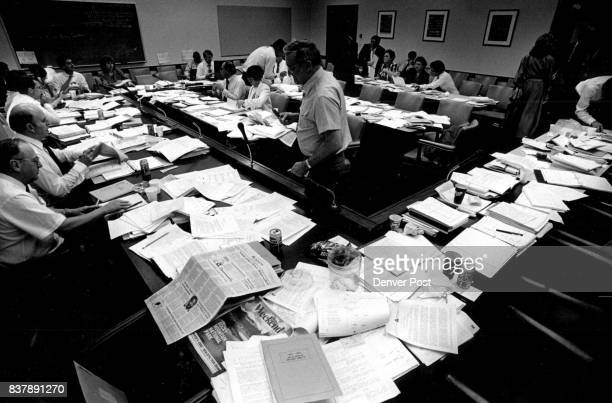 As legislators return to their caucus room tables piled high with paper seem to create a sea of paperwork Credit The Denver Post
