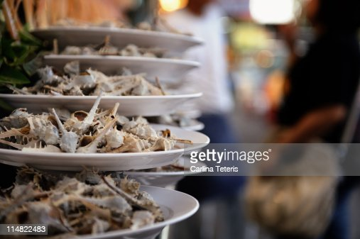 piles of plates of snails gurney drive penang stock photo. Black Bedroom Furniture Sets. Home Design Ideas