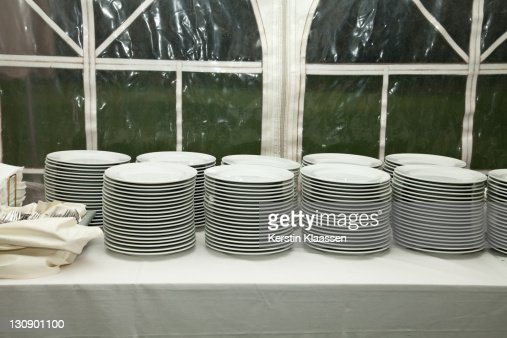 Piles of plates : Stock Photo