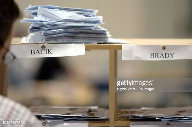 Piles of polling papers from the Irish European Elections from Tallaght Central West Dublin showing a poor response for Fianna Fail's candiate for...