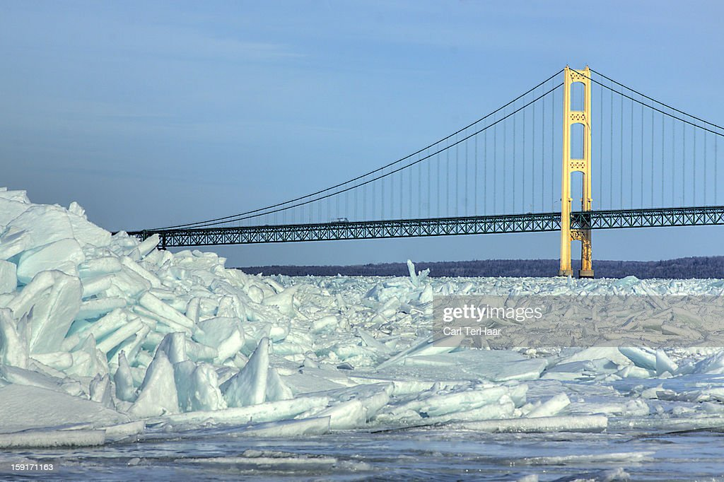 Pileup at the Mackinaw Bridge : Stock Photo
