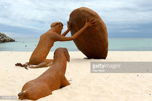 'Pilgrim' by artist Russell Sheridan is seen during Sculpture By The Sea 2016 at Cottesloe Beach on March 19 2016 in Perth Australia