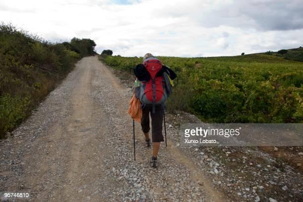 A pilgrim in a Bierzo region in the way of saint James in Castilla and Leon 10th November 2009