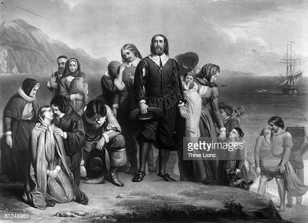 19th November 1620 The Pilgrim Fathers arriving on the Mayflower and landing in New England where they founded the Plymouth Colony Original Artwork...