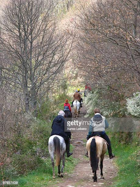Pilgrim on horseback in the region of Bierzo way of saint James Castilla y Leon region16th April 2004