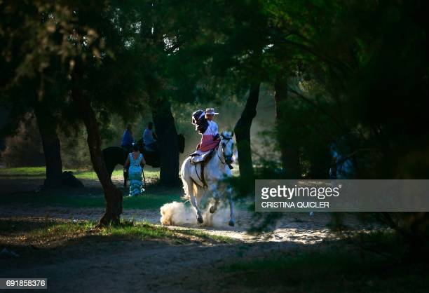 A pilgrim rides a horse in a forest near the Ajoli bridge in the village of Rocio during the annual El Rocio pilgrimage on June 3 2017 in...