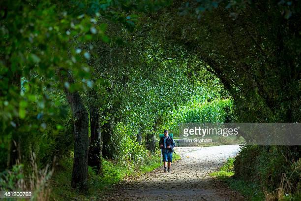 Pilgrim walks the Camino de Santiago Pilgrim's Way pilgrimage route to Santiago de Compostela in Galicia Spain