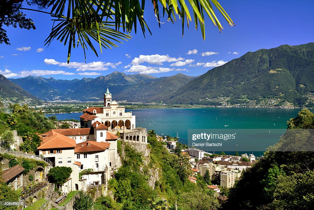 Pilgrimage church of Madonna del Sasso at Lago Maggiore, Lake Maggiore, Locarno, Ticino, Switzerland