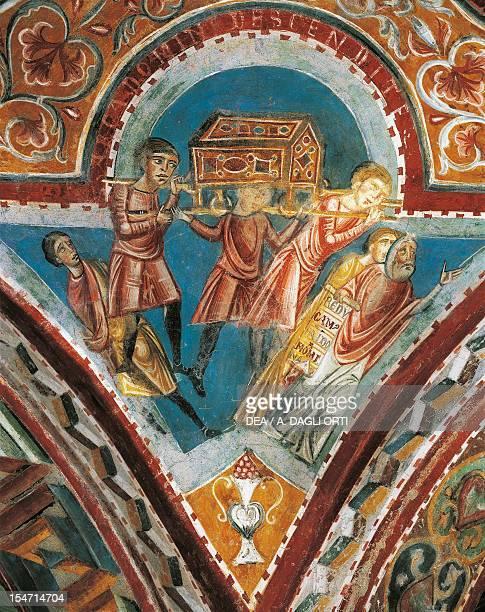 Pilgrimage of the Holy Ark to Azoto Gaza Ascaron and Accaron early 13th century fresco Crypt of St Mary Cathedral Anagni Lazio Italy 13th century
