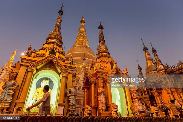 Pilgrims and visitors of Shwedagon after sunset