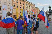 Pilgrims from Russia meet a group of pilgrims from Ukrain in Krakow's main Square Thousands of pilgrims from around the world arrive to Krakow on the...