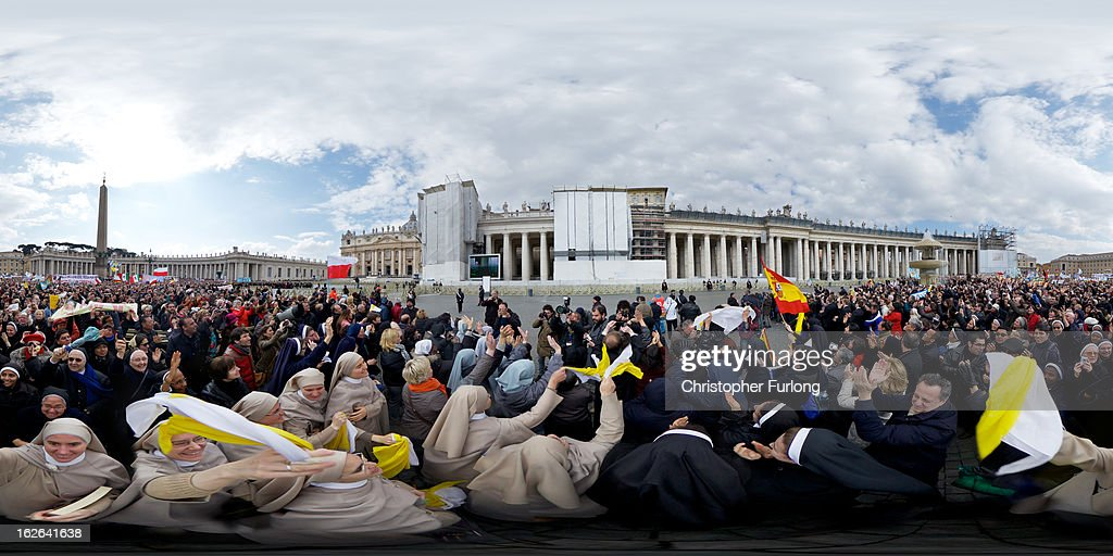 Pilgrims gather to witness Pope Benedict XVI deliver his last Angelus Blessing from the window of his private apartment to thousands of pilgrims gathered in Saint Peter's Square on February 24, 2013 in Vatican City, Vatican. The Pontiff will hold his last weekly public audience on February 27, 2013 before he retires the following day. Pope Benedict XVI has been the leader of the Catholic Church for eight years and is the first Pope to retire since 1415. He cites ailing health as his reason for retirement and will spend the rest of his life in solitude away from public engagements.