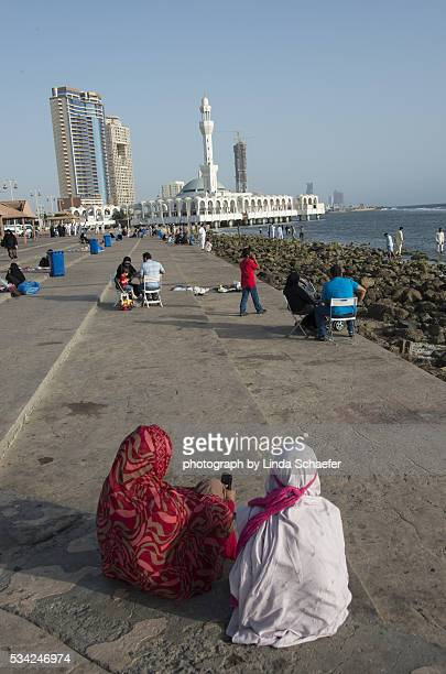 pilgrims in Jeddah at floating mosque