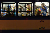 Pilgrims in tramway on their way from the official opening Mass and the World Youth Day 2016 in Blonia Park in Krakow On Tuesday 26 July 2016 in...