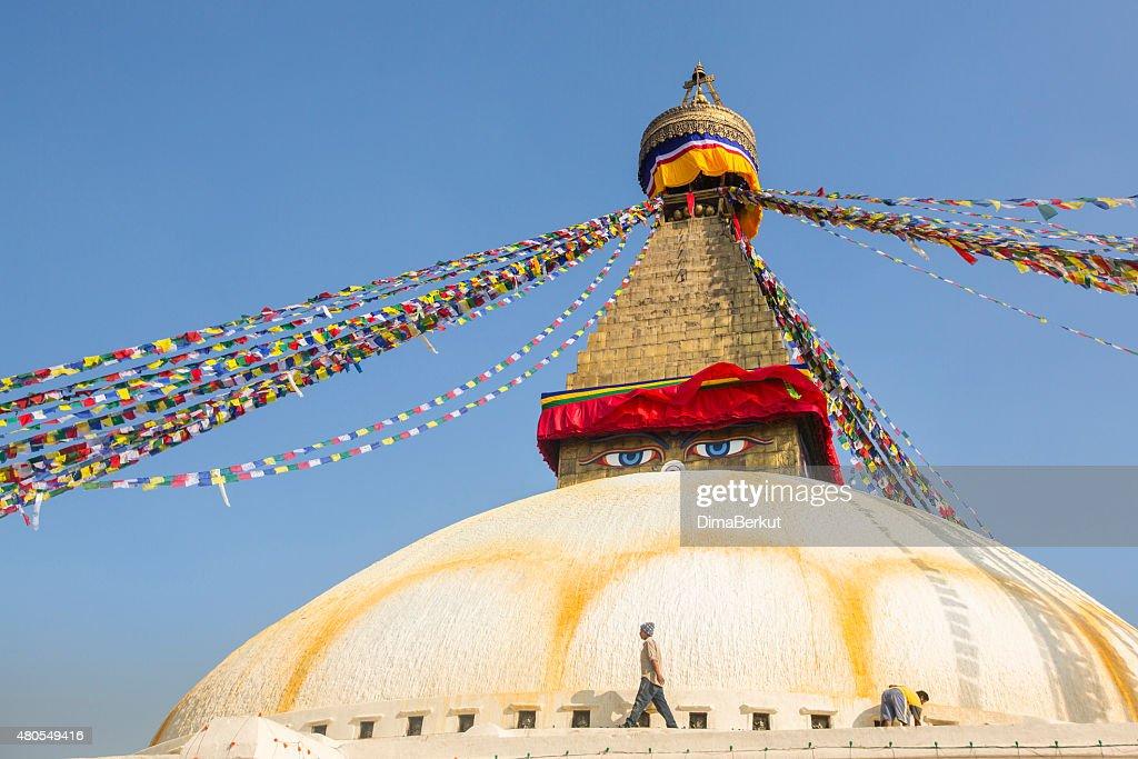 Pilgrims near stupa Boudhanath : Stock Photo