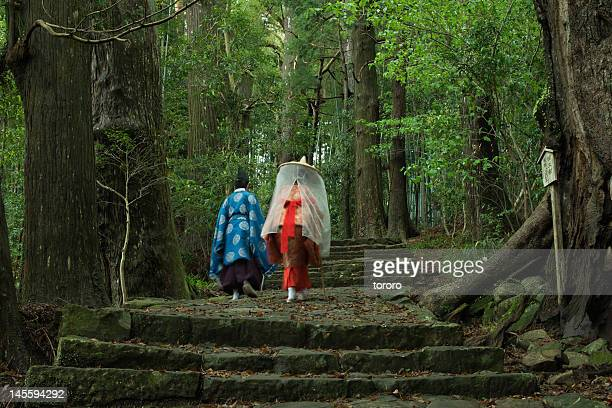 Pilgrims on ancient pilgrimage trail, Japan
