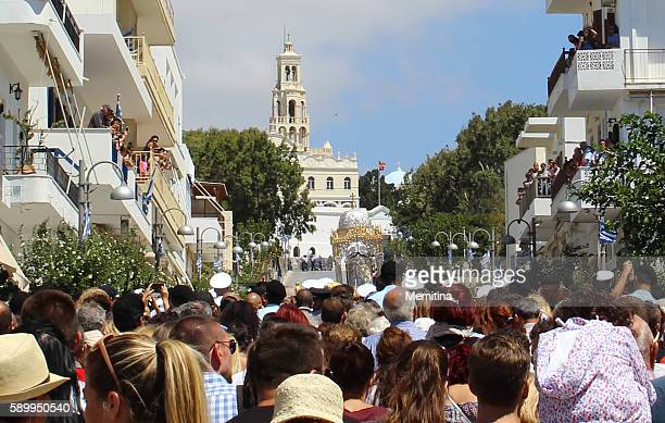 Pilgrims on Assumption Day Litany on Tinos island