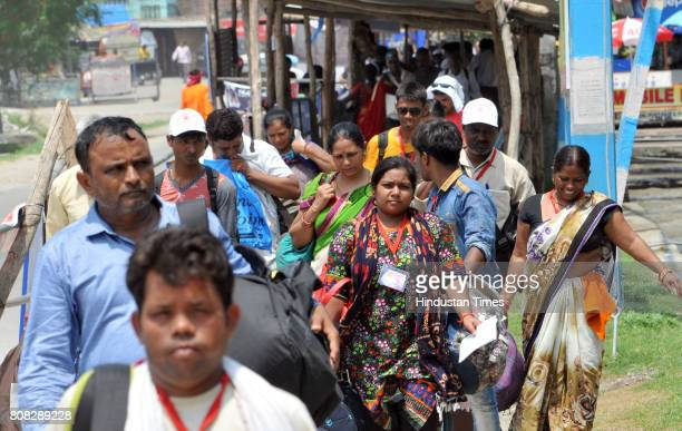Pilgrims reached at yatri base camp on July 4 2017 in Jammu India Another batch of 1786 pilgrims on Tuesday left Jammu for the highaltitude Amarnath...