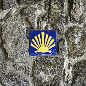 Pilgrim's Shell (scallop), Symbol of the Way of Saint James in Tui, Galicia, Spain. This design is many centuries old and not subject to copyright
