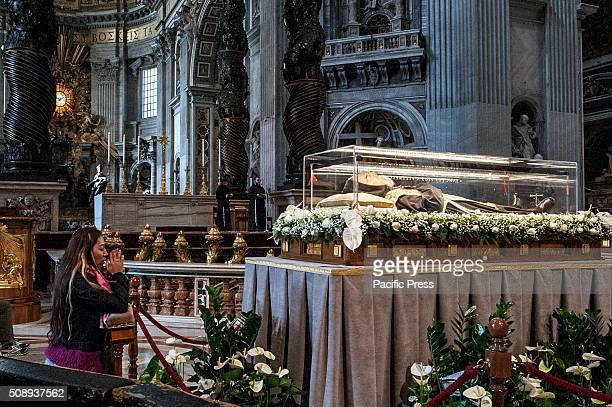 Pilgrims visit the remains of Saint Leopoldo and Saint Pio showed in Saint Pietro Cathedral