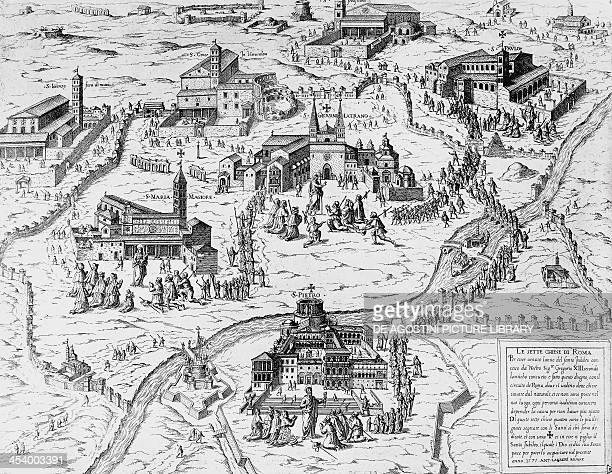 Pilgrims visiting the Seven Churches of Rome during the Holy Year of 1575 engraving Italy 16th century