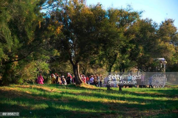 Pilgrims walk with a carriage carrying the Rocio Virgin near the Ajoli bridge in the village of Rocio during the annual El Rocio pilgrimage on June 3...