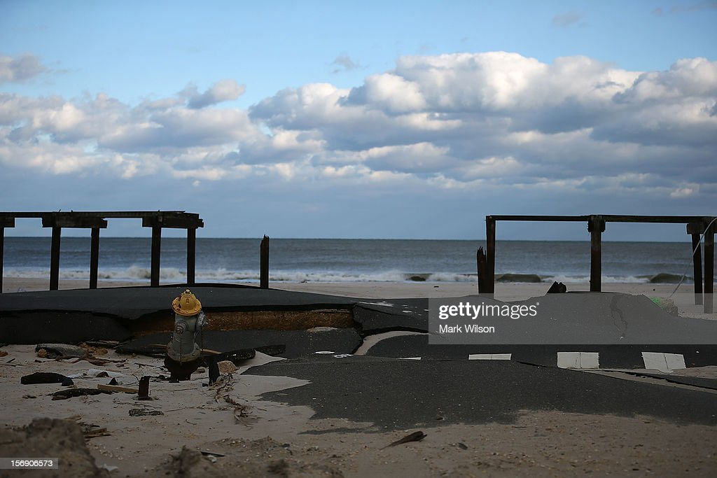 Pilings are all that remains of the boardwalk damaged by Superstorm Sandy, on November 24, 2012 in Ortley Beach, New Jersey. New Jersey Gov. Christie estimated that Superstorm Sandy cost New Jersey $29.4 billion in damage and economic losses.