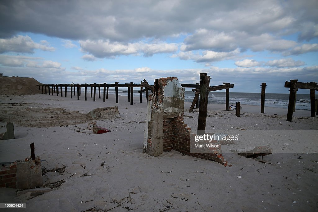 Pilings are all that remains of the boardwalk that damaged by Superstorm Sandy, on November 24, 2012 in Ortley Beach, New Jersey. New Jersey Gov. Christie estimated that Superstorm Sandy will cost New Jersey $29.4 billion in damage and economic losses.