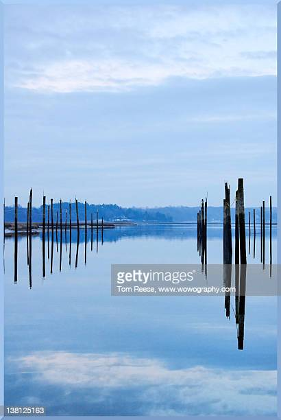 Pilings at sea with floating docks