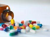 Pill bottle with pills