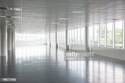 Pillars in empty office building