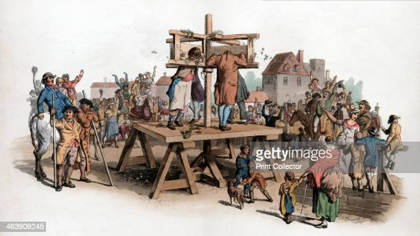 A pillory 1805 Four men being punished in the pillory being pelted with rubbish and jeered at by a crowd By this date among crimes punishable by...