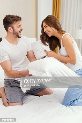 Pillow fight. : Stock Photo