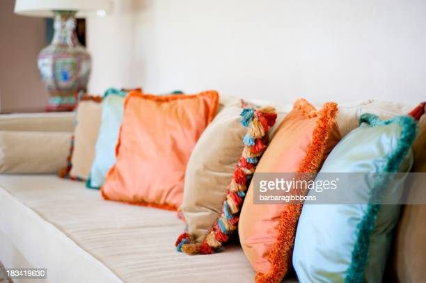 Pillow with vibrant colors.