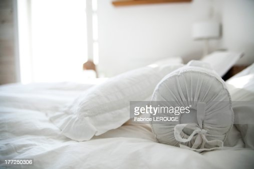 Pillows on bed in the bedroom