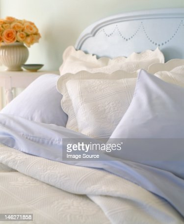 Pillows on bed : Stock Photo