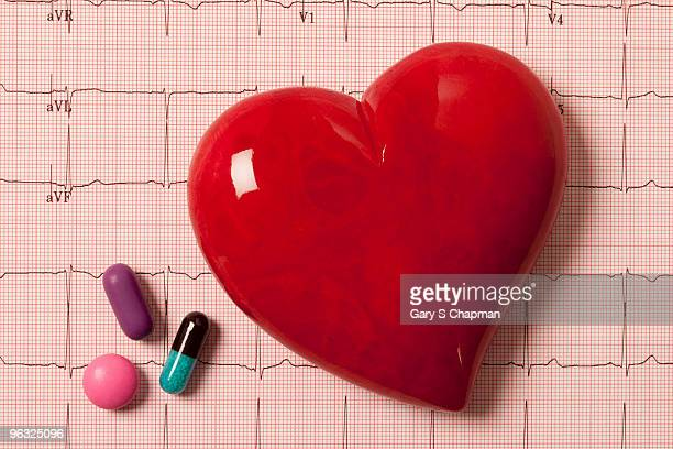 Pills and stone heart on EKG readout