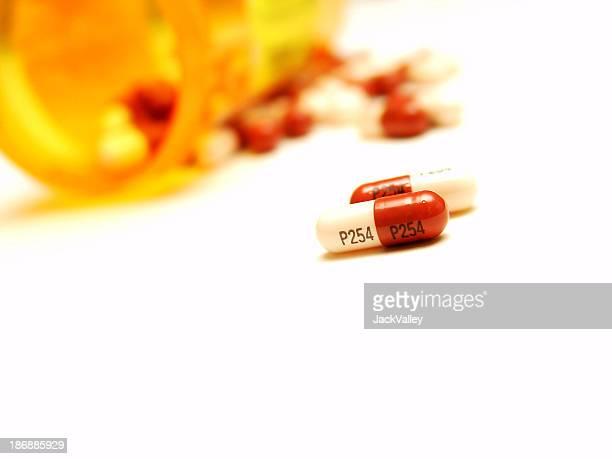 Pills from a bottle.