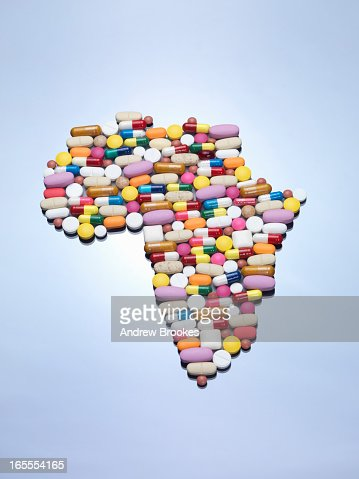 Pills in Africa map shape : Stock Photo