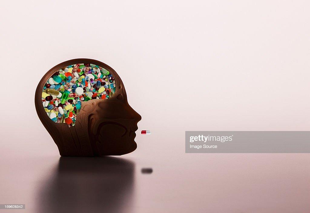 Pills in model head