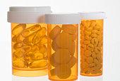 Pills in pill bottles