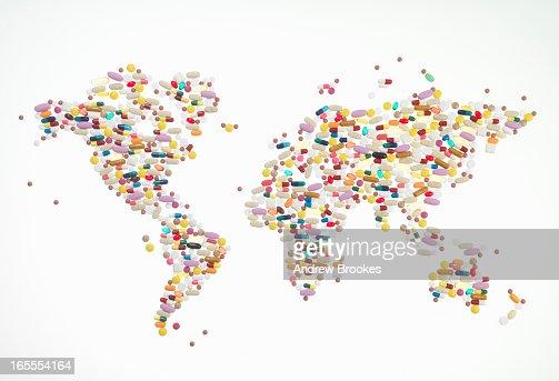 Pills in world map shape