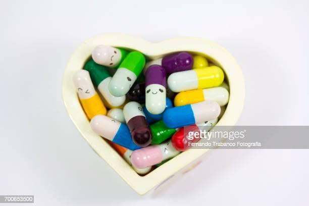 pills medicine with heart shape