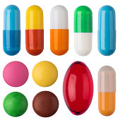 Pills on white isolated background